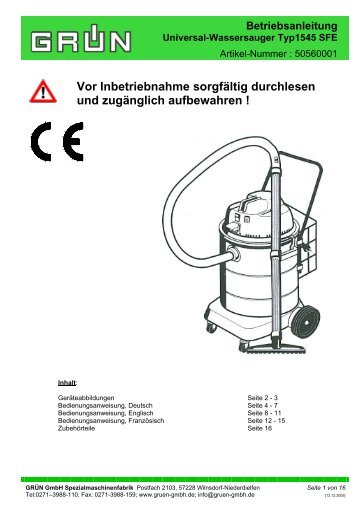 Betriebsanleitung Universal-Wassersauger Typ1545 SFE