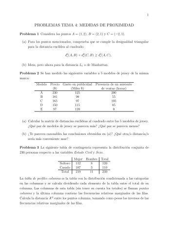 PROBLEMAS TEMA 4: MEDIDAS DE PROXIMIDAD