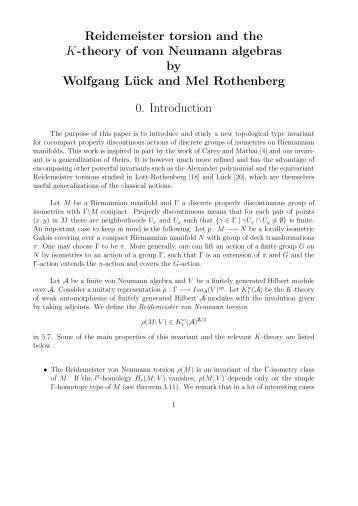Reidemeister torsion and the K-theory of von Neumann algebras by ...