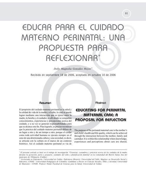 educar para el cuidado materno perinatal - Hacia la Promoción de ...