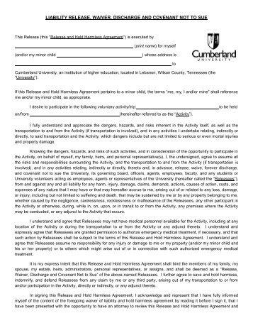 Liability Release Form.   Cumberland University  Liability Release Form