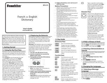 French English Dictionary - Franklin Electronic Publishers