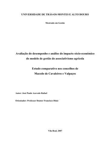 Avaliação do desempenho e análise do impacto sócio-económico ...