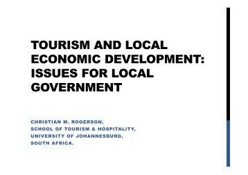 TOURISM & LOCAL ECONOMIC DEVELOPMENT PROF ROGERSON