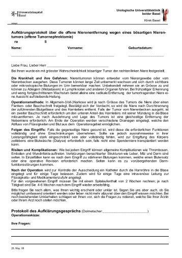 Offene Nierenentfernung - Urologische Klinik Basel