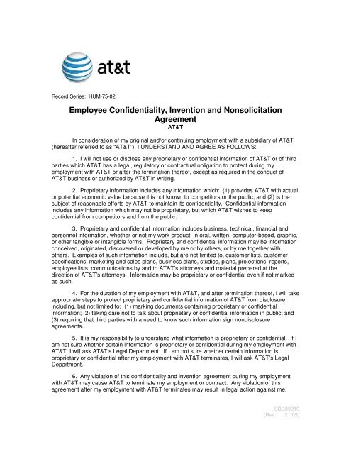 Employee Confidentiality Invention And Nonsolicitation Agreement