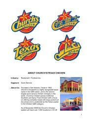 ABOUT CHURCH'S/TEXAS CHICKEN - U.S. Commercial Service