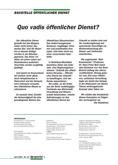 DEUTSCHE POLIZEI 4/2003 - GdP