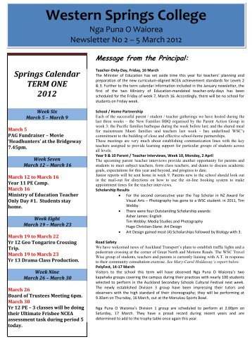 English News - Western Springs College