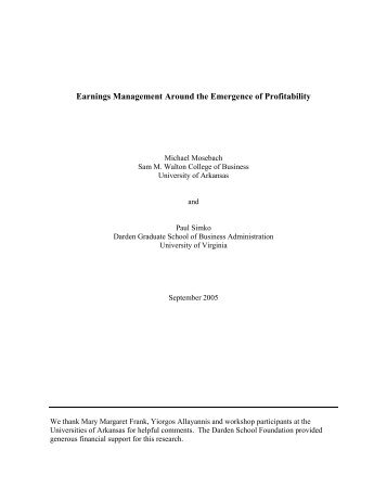 Earnings Management around the Emergence of Profitability