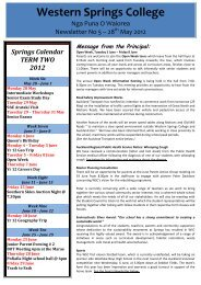 Sports Newsletter - Western Springs College