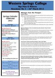 Western Springs College Nga Puna O Waiorea Newsletter No 3