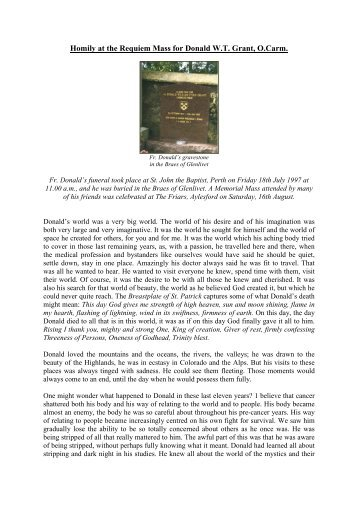 Funeral Homily - British Province of Carmelite Friars