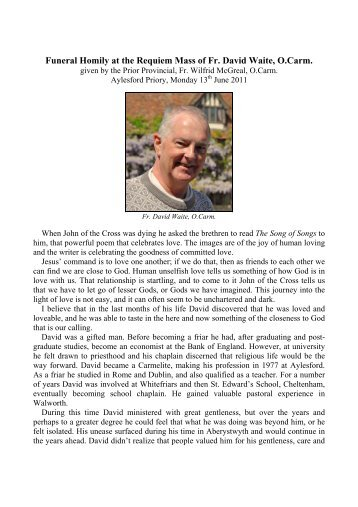 Funeral homily and obituary - British Province of Carmelite Friars