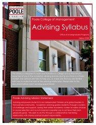 Advising Syllabus Advising Syllabus - Poole College of Management
