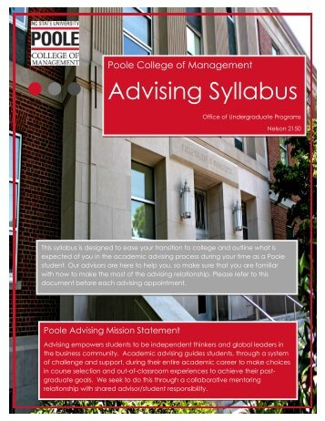 Advising Syllabus Advising Syllabus - Poole College of Management