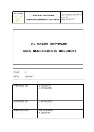 ON BOARD SOFTWARE USER REQUIREMENTS DOCUMENT