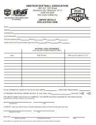 umpire application form - Alaska ASA Softball