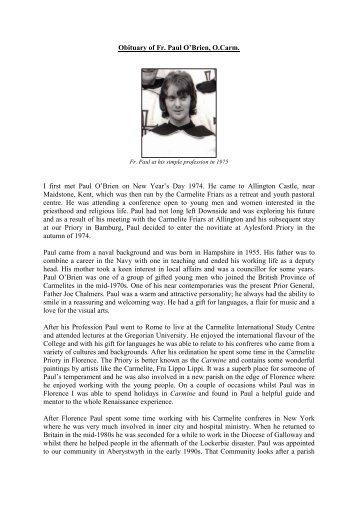 Obituary - British Province of Carmelite Friars