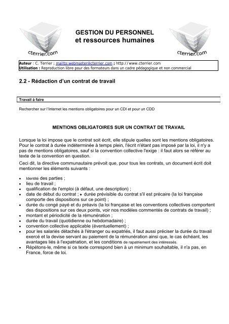 contrat de travail obligatoire ou pas