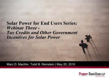 Solar Power for End Users Series: Webinar Three - Pepper Hamilton ...