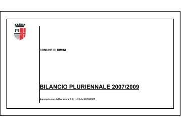 BILANCIO PLURIENNALE 2007/2009 - Comune di Rimini