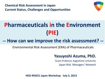 Risk assessment/management of pharmaceuticals in the environment
