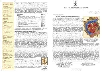 York CSG Newsletter 31 - British Province of Carmelite Friars