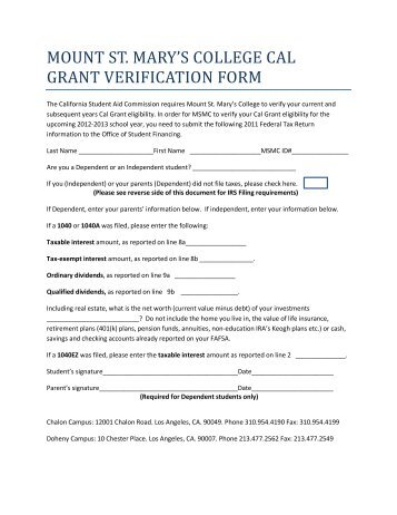 Cal Grant GPA Verification Form