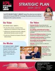 Strategic Plan 2009 - Kitchener Public Library