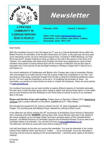 Newsletter - Carmelites - British Province of Carmelite Friars