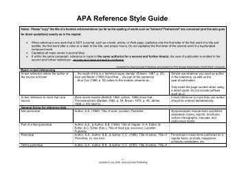 apa referencing style guide Taylor & francis standard reference style: apa apa (american psychological association) references are widely used in the social sciences.