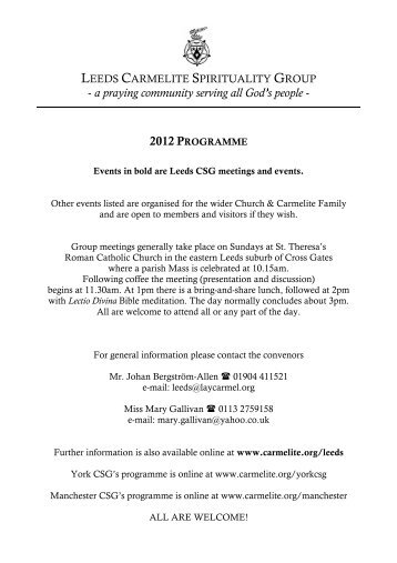 Leeds CSG 2012 Programme - British Province of Carmelite Friars