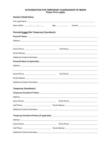 Petition For Temporary Letters Of Guardianship Of Minor