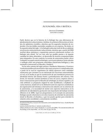 AUTONOMÍA, VIDA Y BIOÉTICA - Ludus Vitalis