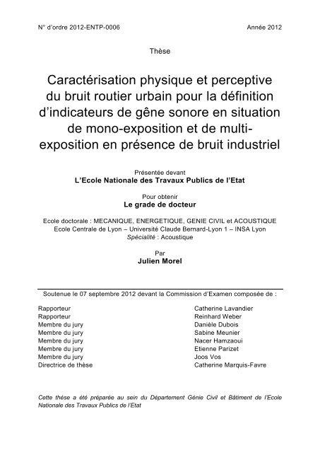 Caractã©risation Du Et Physique Bruit Routier Perceptive Urbain PkiuOXZT