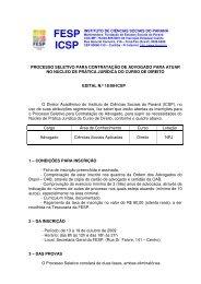 Edital nº 18-09- processo seletivo para Advogado-NPJ - FESP