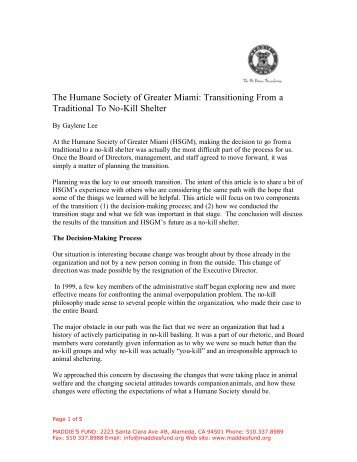 The Humane Society of Greater Miami: Transitioning ... - No Kill NOW!