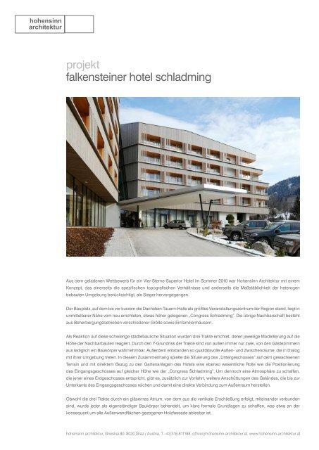 projekt falkensteiner hotel schladming - Hohensinn Architektur