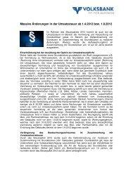 Massive Änderungen in der Umsatzsteuer ab 1.4.2012 ... - Volksbank