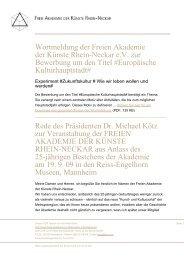 Wortmeldung der Freien Akademie der Künste Rhein-Neckar eV zur ...