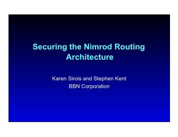 Securing the Nimrod Routing Architecture