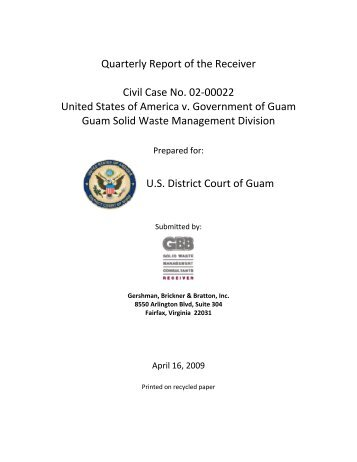 Quarterly Report to the Court - Guam Solid Waste Receivership