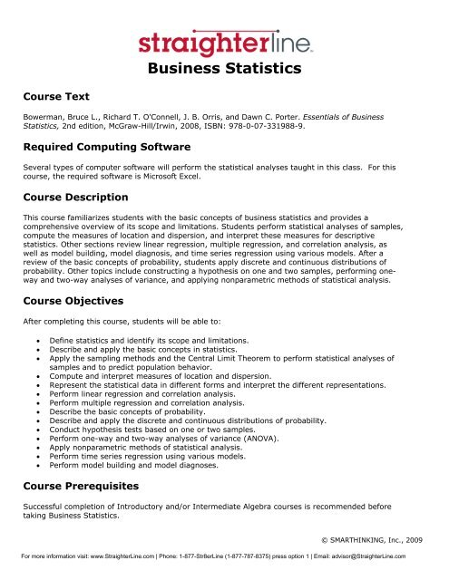 StraighterLine Business Statistics Syllabus