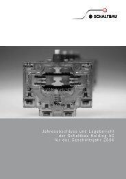 Jahresabschluss und Lagebericht der Schaltbau Holding AG für das ...