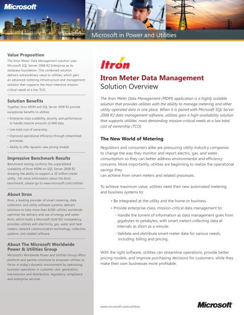 Itron Meter Data Management Solution Overview