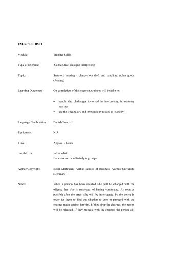 EXERCISE: BM 3 Module: Transfer Skills Type of Exercise ...