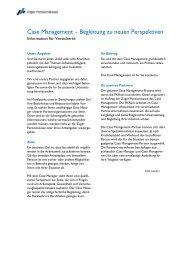CM-Infoblatt für Versicherte Case Management - Zuger Pensionskasse