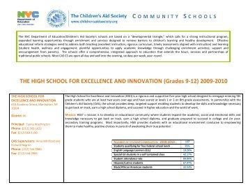 (Grades 9-12) 2009-2010 - The Children's Aid Society
