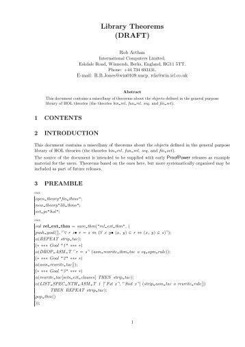 Library Theorems (DRAFT) - Lemma 1!